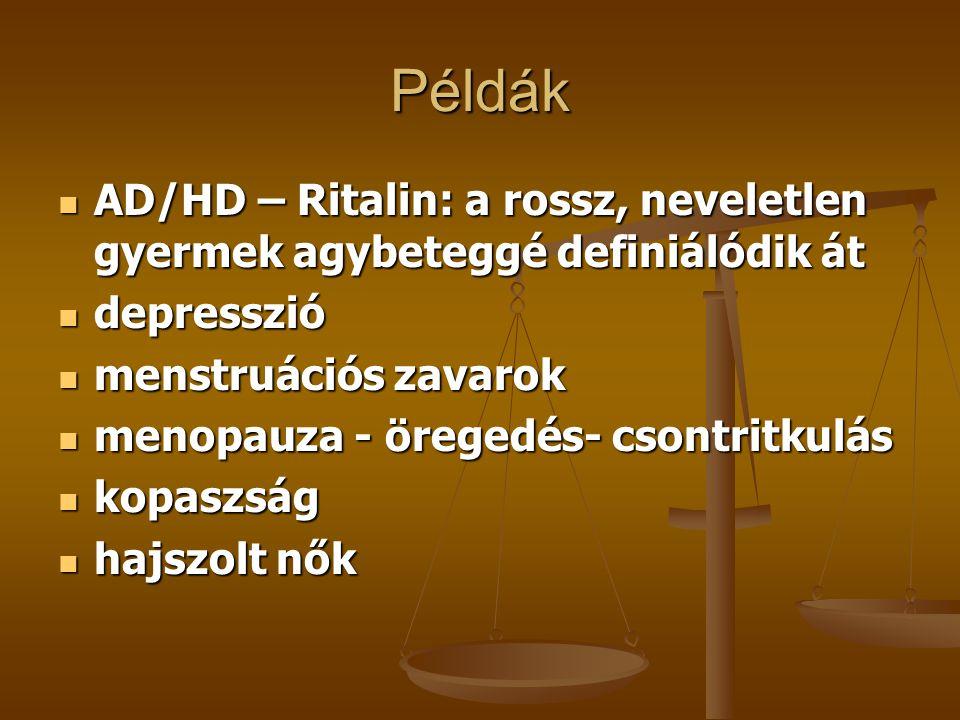 Példák AD/HD – Ritalin: a rossz, neveletlen gyermek agybeteggé definiálódik át. depresszió. menstruációs zavarok.