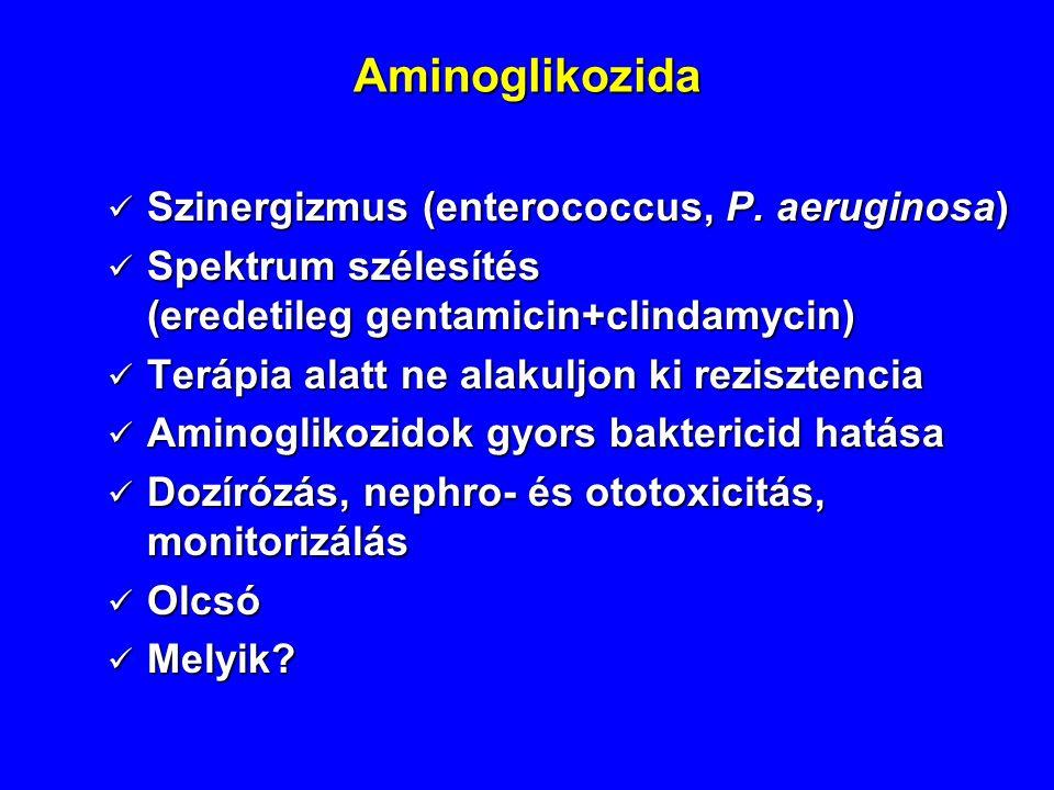 Aminoglikozida Szinergizmus (enterococcus, P. aeruginosa)