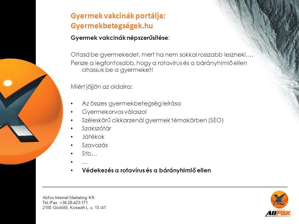 Gyermek vakcinák portálja: Gyermekbetegségek.hu