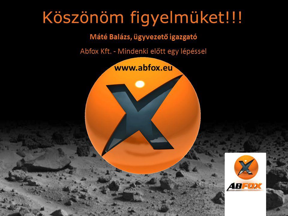 Köszönöm figyelmüket!!! www.abfox.eu Máté Balázs, ügyvezető igazgató
