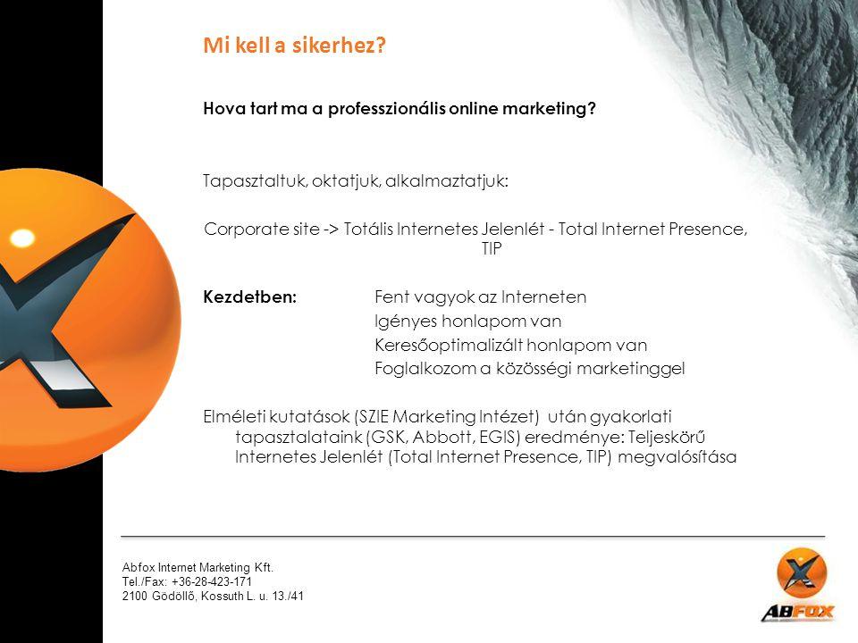 Mi kell a sikerhez Hova tart ma a professzionális online marketing