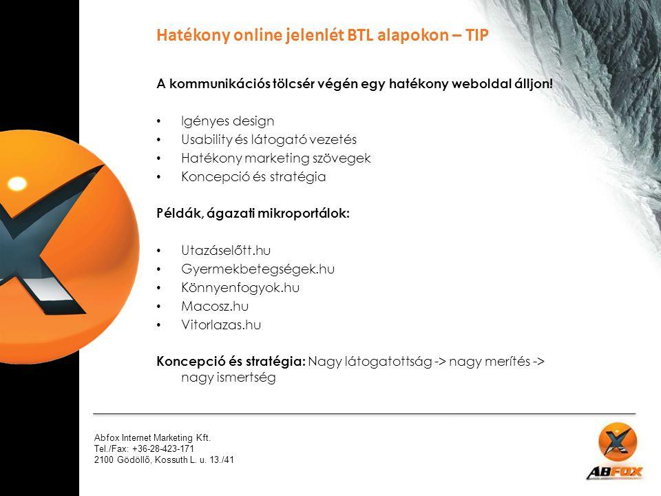 Hatékony online jelenlét BTL alapokon – TIP