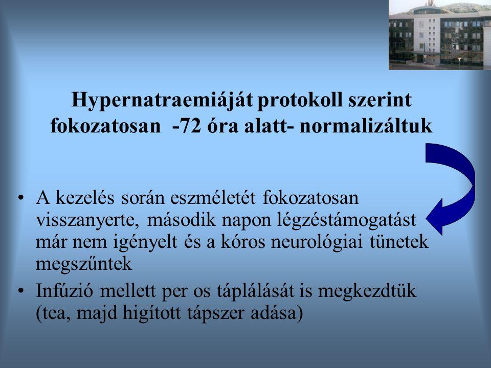 Hypernatraemiáját protokoll szerint fokozatosan -72 óra alatt- normalizáltuk