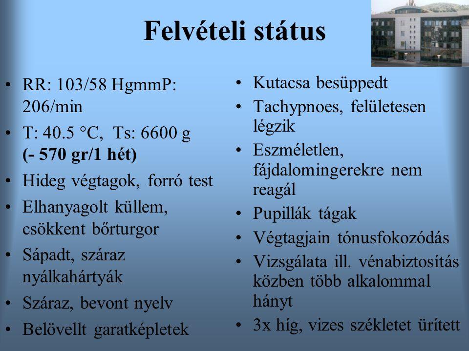 Felvételi státus RR: 103/58 HgmmP: 206/min