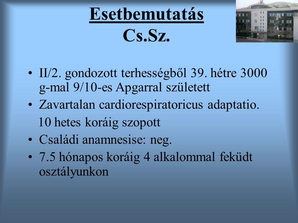 Esetbemutatás Cs.Sz. II/2. gondozott terhességből 39. hétre 3000 g-mal 9/10-es Apgarral született. Zavartalan cardiorespiratoricus adaptatio.