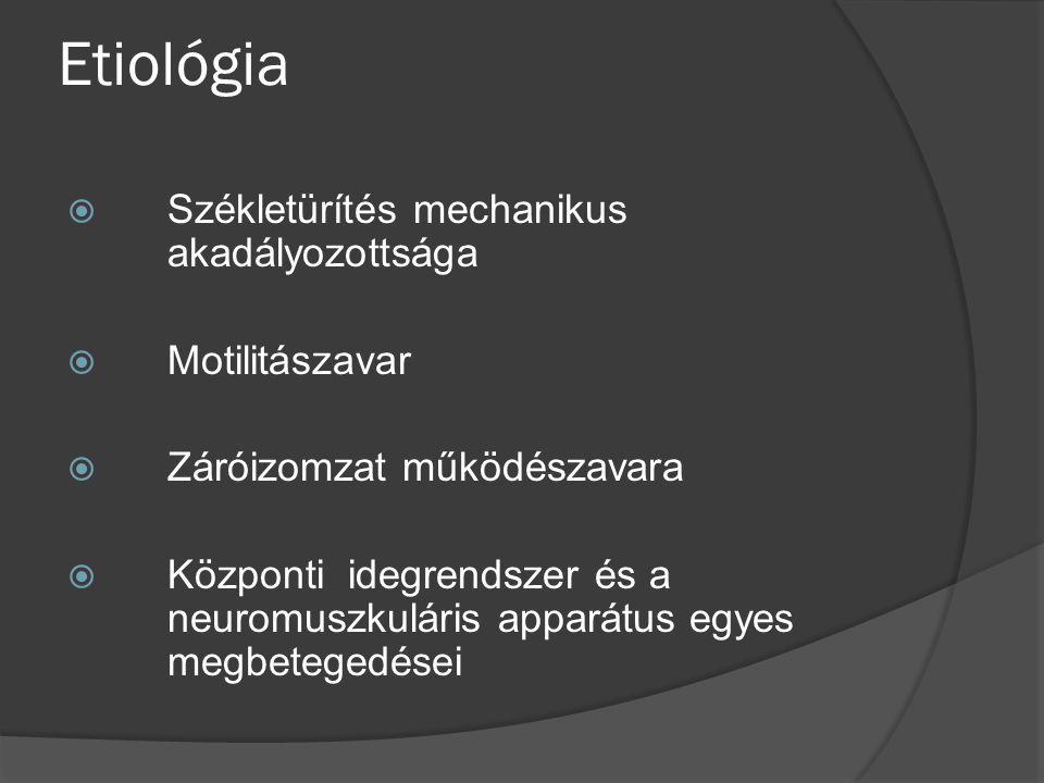 Etiológia Székletürítés mechanikus akadályozottsága Motilitászavar