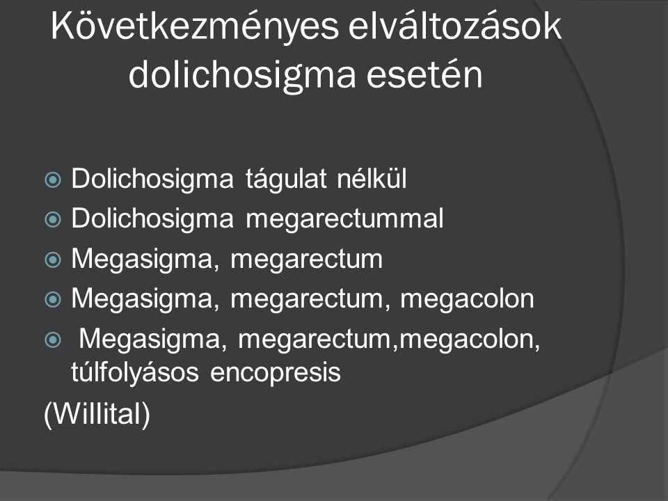 Következményes elváltozások dolichosigma esetén