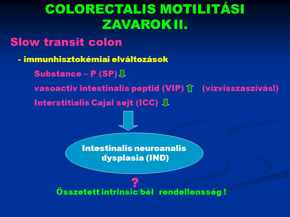 COLORECTALIS MOTILITÁSI ZAVAROK II.