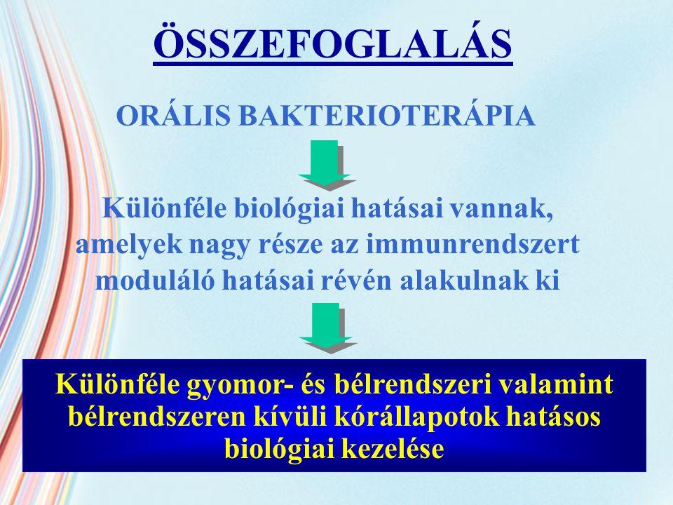 ORÁLIS BAKTERIOTERÁPIA