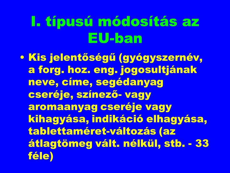 I. típusú módosítás az EU-ban