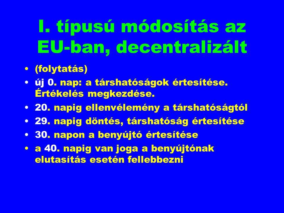I. típusú módosítás az EU-ban, decentralizált