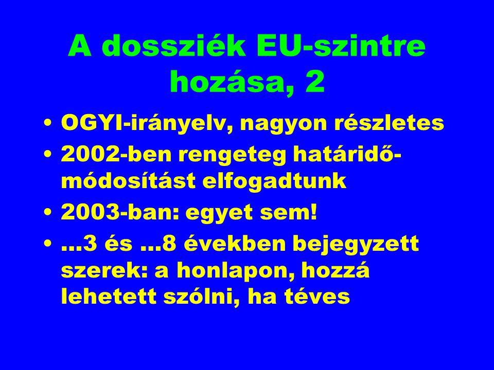 A dossziék EU-szintre hozása, 2