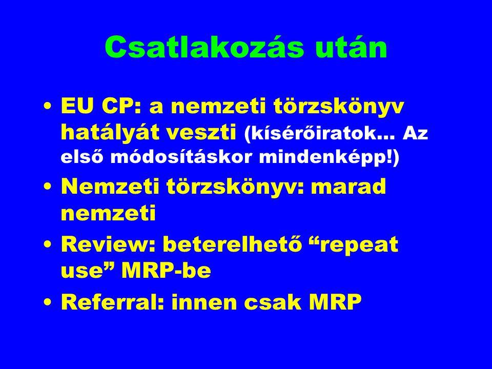 Csatlakozás után EU CP: a nemzeti törzskönyv hatályát veszti (kísérőiratok… Az első módosításkor mindenképp!)