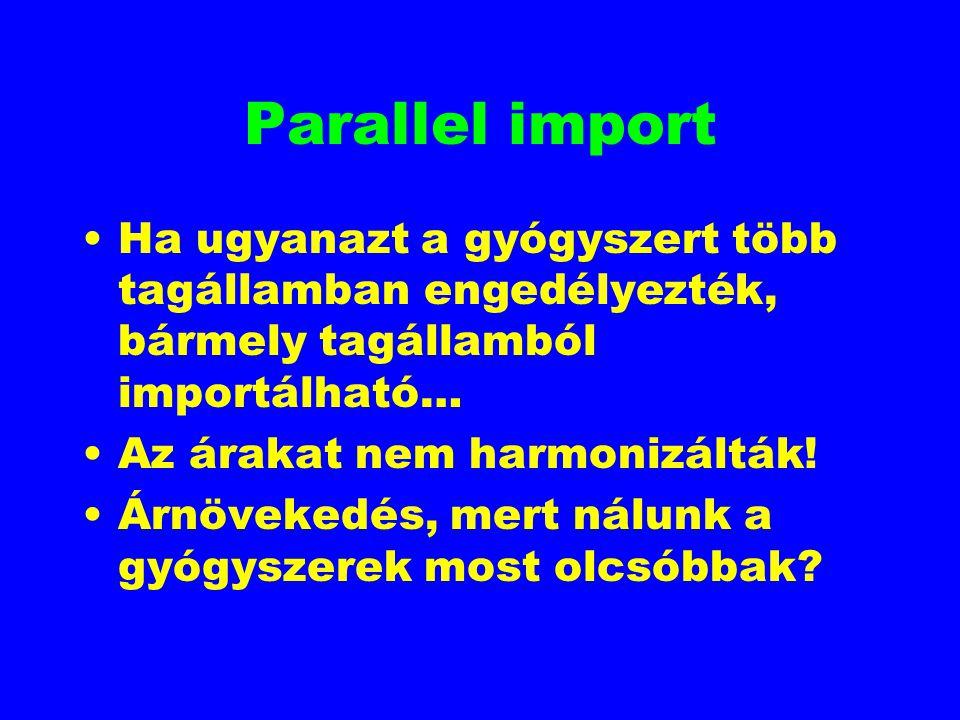 Parallel import Ha ugyanazt a gyógyszert több tagállamban engedélyezték, bármely tagállamból importálható…