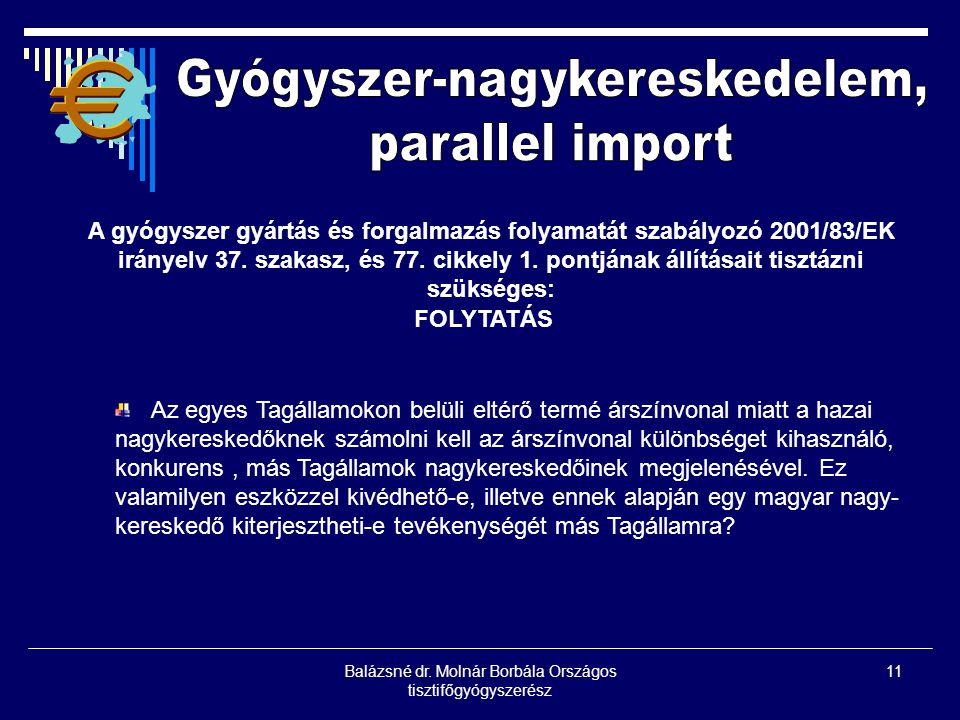 Gyógyszer-nagykereskedelem, parallel import