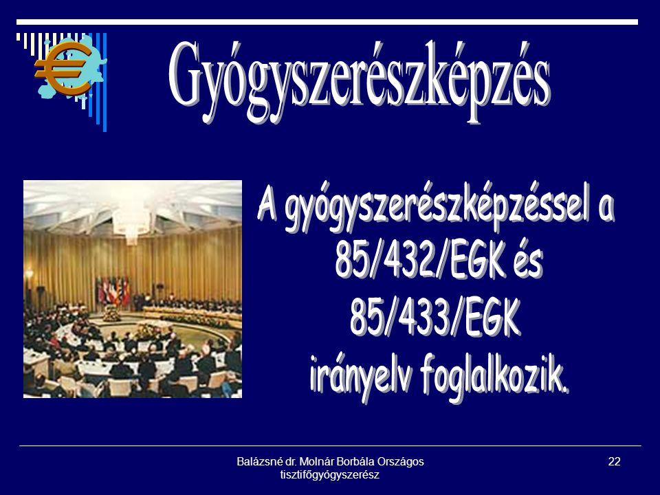 A gyógyszerészképzéssel a 85/432/EGK és 85/433/EGK