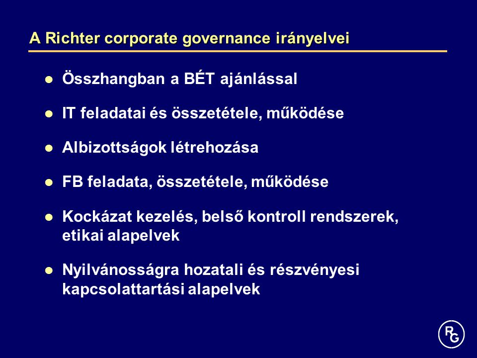 A Richter corporate governance irányelvei