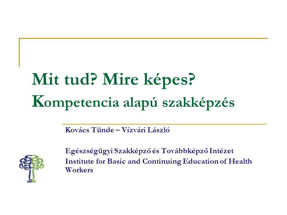 Mit tud Mire képes Kompetencia alapú szakképzés