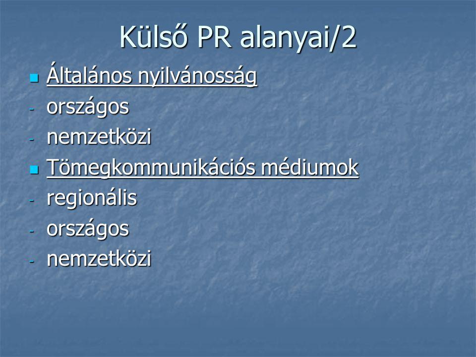 Külső PR alanyai/2 Általános nyilvánosság országos nemzetközi