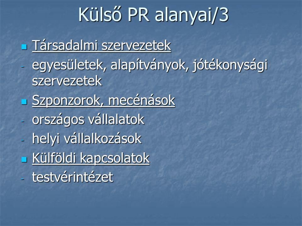 Külső PR alanyai/3 Társadalmi szervezetek