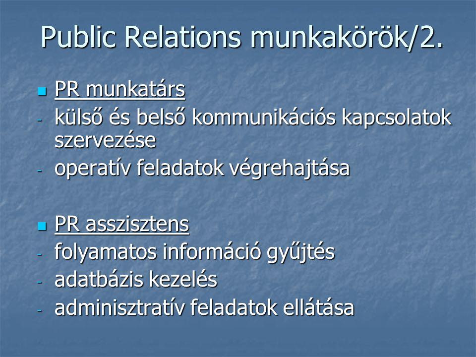 Public Relations munkakörök/2.
