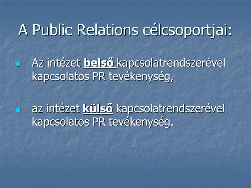 A Public Relations célcsoportjai: