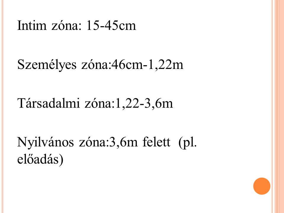 Intim zóna: 15-45cm Személyes zóna:46cm-1,22m Társadalmi zóna:1,22-3,6m Nyilvános zóna:3,6m felett (pl.