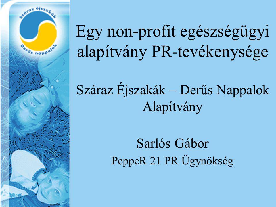 Egy non-profit egészségügyi alapítvány PR-tevékenysége Száraz Éjszakák – Derűs Nappalok Alapítvány Sarlós Gábor