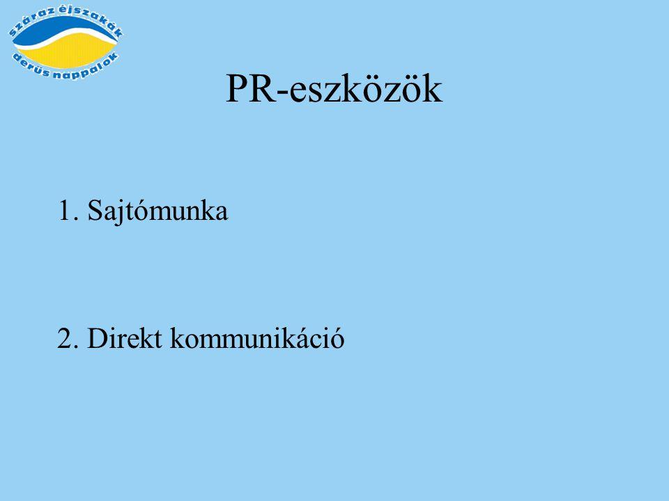 PR-eszközök 1. Sajtómunka 2. Direkt kommunikáció
