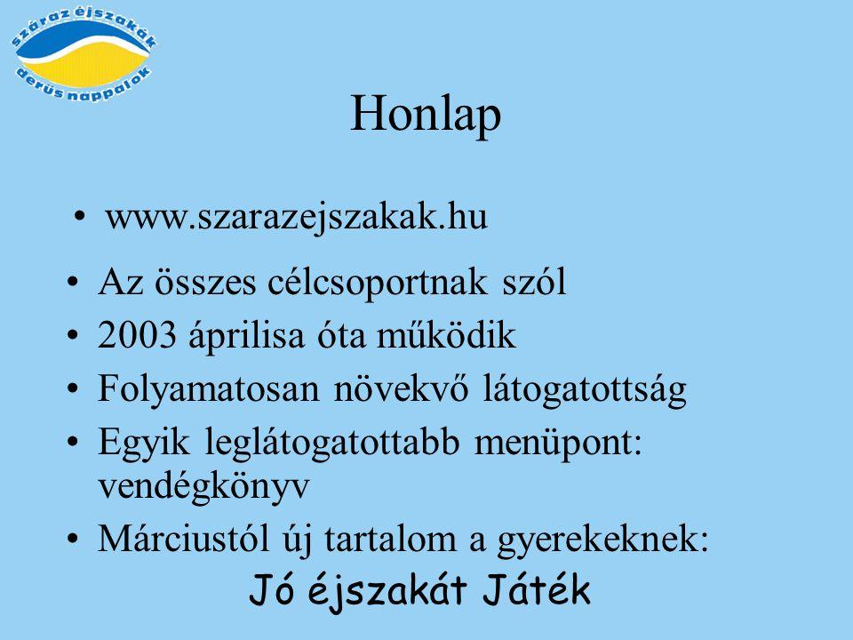 Honlap www.szarazejszakak.hu Az összes célcsoportnak szól