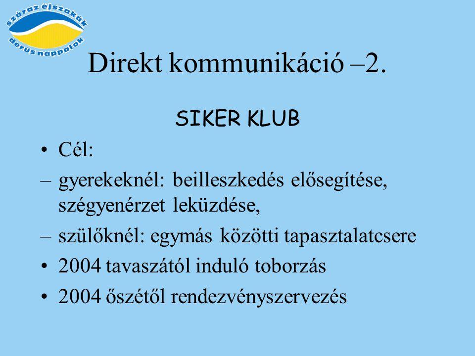 Direkt kommunikáció –2. SIKER KLUB Cél: