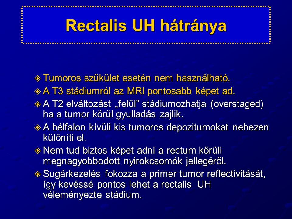 Rectalis UH hátránya Tumoros szűkület esetén nem használható.