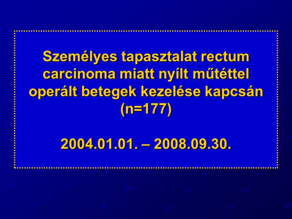 Személyes tapasztalat rectum carcinoma miatt nyílt műtéttel operált betegek kezelése kapcsán (n=177) 2004.01.01.