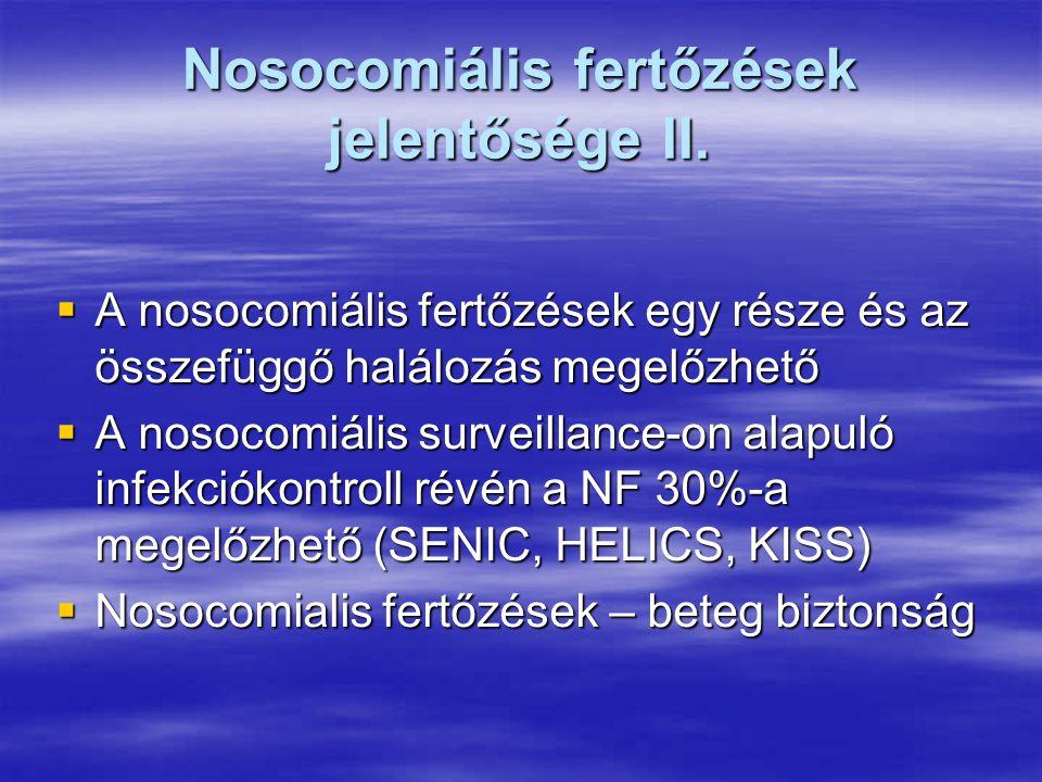 Nosocomiális fertőzések jelentősége II.