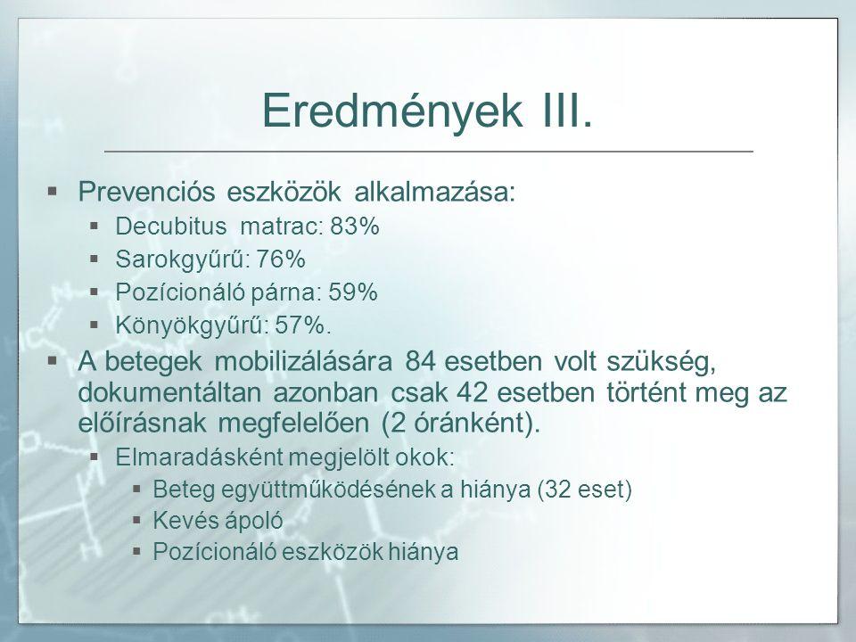 Eredmények III. Prevenciós eszközök alkalmazása: