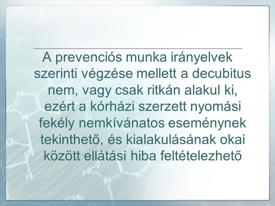A prevenciós munka irányelvek szerinti végzése mellett a decubitus nem, vagy csak ritkán alakul ki, ezért a kórházi szerzett nyomási fekély nemkívánatos eseménynek tekinthető, és kialakulásának okai között ellátási hiba feltételezhető