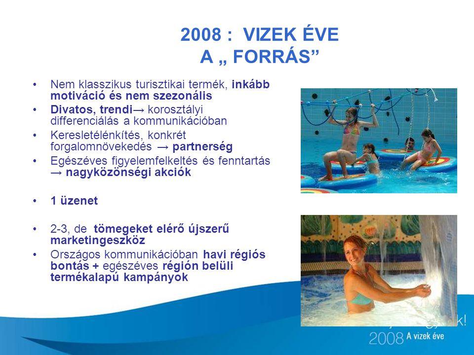 """2008 : VIZEK ÉVE A """" FORRÁS Nem klasszikus turisztikai termék, inkább motiváció és nem szezonális."""