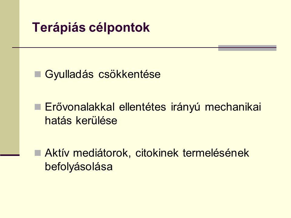 Terápiás célpontok Gyulladás csökkentése