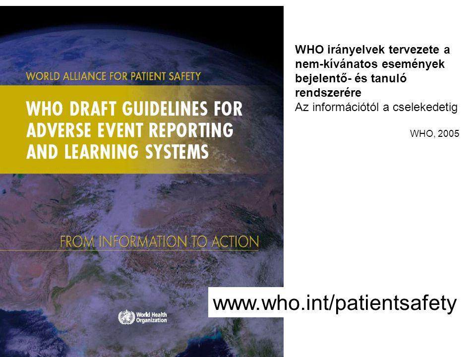 WHO irányelvek tervezete a nem-kívánatos események bejelentő- és tanuló rendszerére