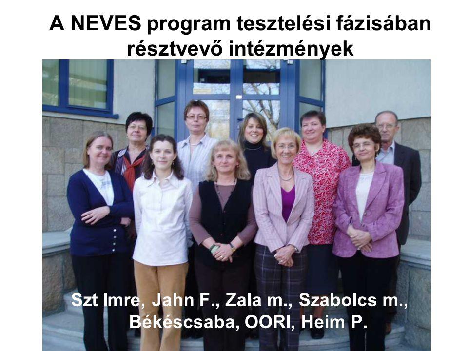 A NEVES program tesztelési fázisában résztvevő intézmények