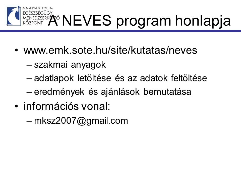A NEVES program honlapja
