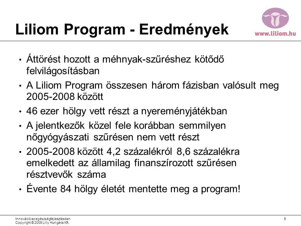 Liliom Program - Eredmények