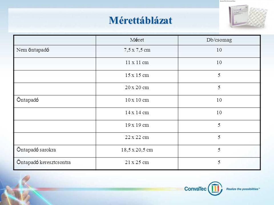 Mérettáblázat Méret Db/csomag Nem öntapadó 7,5 x 7,5 cm 10 11 x 11 cm