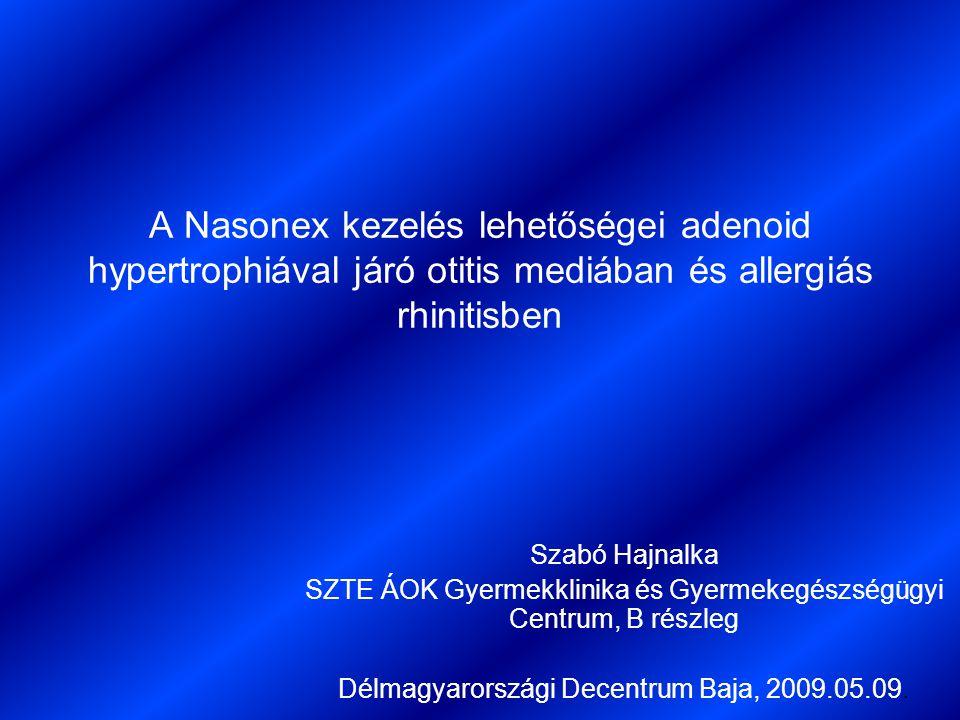 A Nasonex kezelés lehetőségei adenoid hypertrophiával járó otitis mediában és allergiás rhinitisben