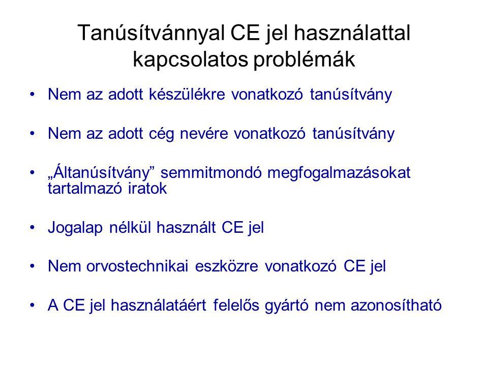 Tanúsítvánnyal CE jel használattal kapcsolatos problémák