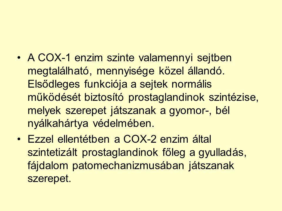 A COX-1 enzim szinte valamennyi sejtben megtalálható, mennyisége közel állandó. Elsődleges funkciója a sejtek normális működését biztosító prostaglandinok szintézise, melyek szerepet játszanak a gyomor-, bél nyálkahártya védelmében.