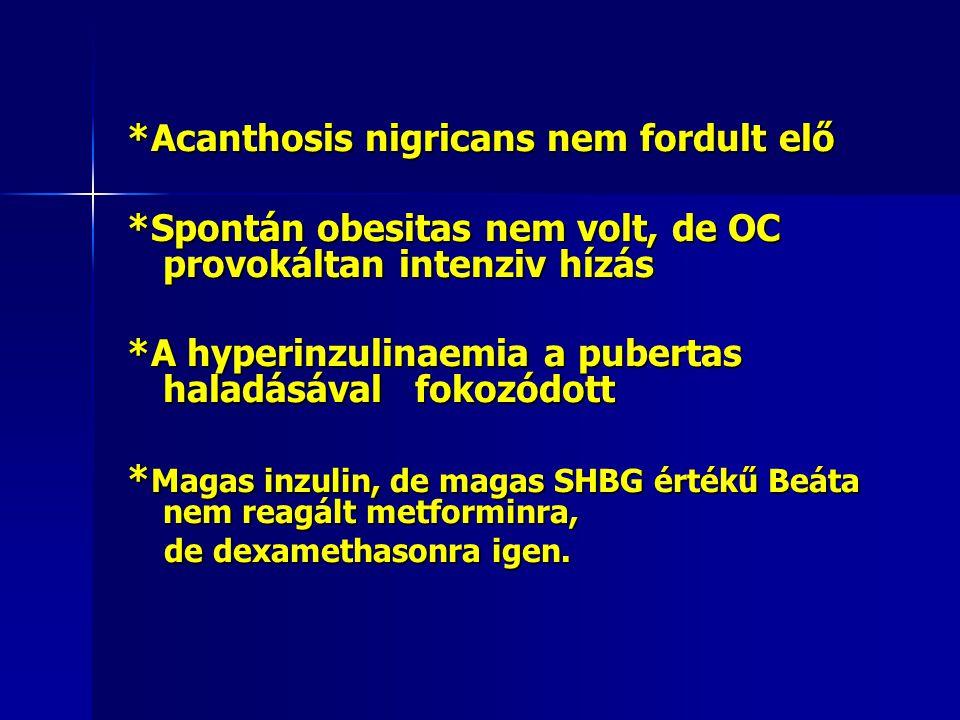 *Acanthosis nigricans nem fordult elő