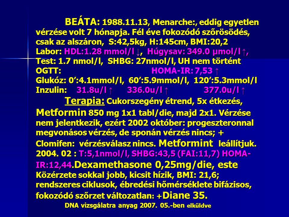 BEÁTA: 1988. 11. 13, Menarche:, eddig egyetlen vérzése volt 7 hónapja