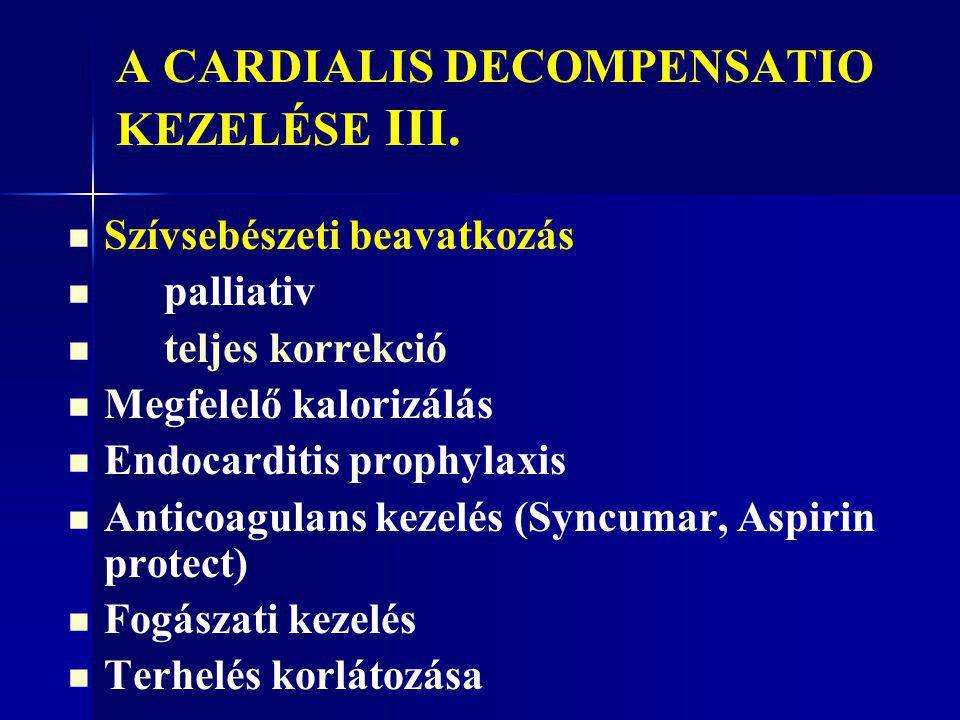 A CARDIALIS DECOMPENSATIO KEZELÉSE III.