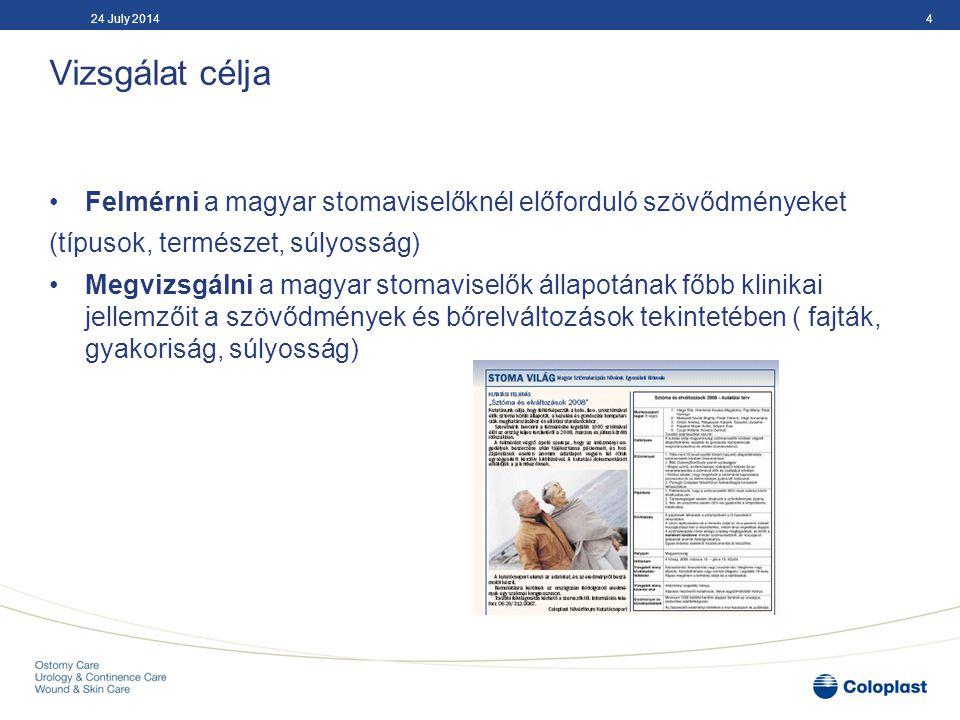 04 April 2017 Vizsgálat célja. Felmérni a magyar stomaviselőknél előforduló szövődményeket. (típusok, természet, súlyosság)